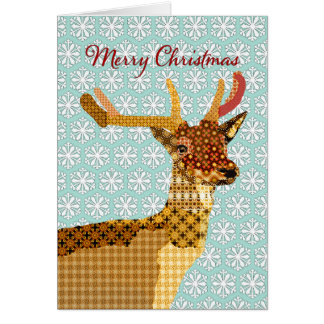 Sparkling Reindeer Blue Snowflakes  Christmas Gree Greeting Card