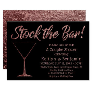 Sparkling Rose Gold Stock the Bar Couples Shower Card