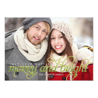 Sparkling Script Merry and Bright Holiday Card