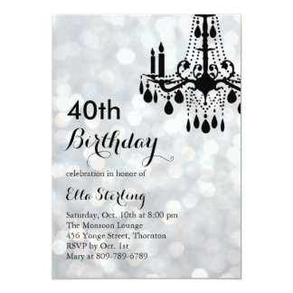 Sparkling Silver Ballroom 40th Birthday Invitation