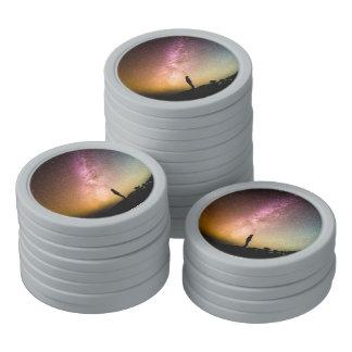 Sparkling Stars Rainbow Galaxy Poker Chips