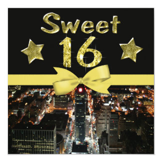 Sparkling Stars Sweet 16 In City Lights Card