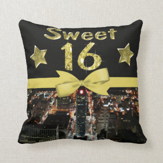 Sparkling Stars Sweet 16 In City Lights Cushion