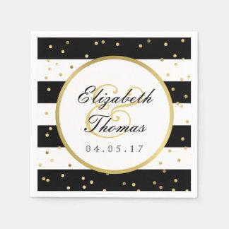 Sparkling Stripes | Elegant Wedding Napkin Disposable Serviette