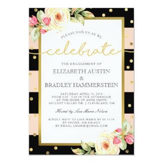 Sparkling Stripes | Floral Engagement Party Card
