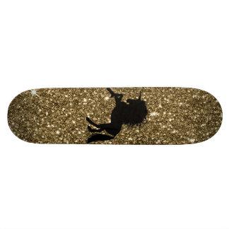 sparkling unicorn golden 19.7 cm skateboard deck