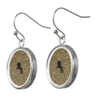 sparkling unicorn golden earrings