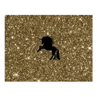 sparkling unicorn golden postcard