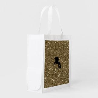 sparkling unicorn golden reusable grocery bag