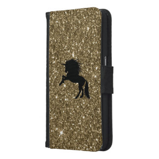 sparkling unicorn golden samsung galaxy s6 wallet case