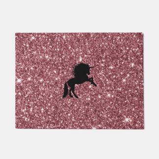 sparkling unicorn pink doormat