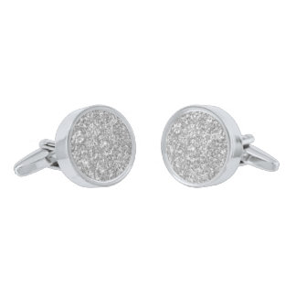 Sparkling White And Gray Glitter Silver Finish Cuff Links