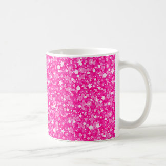 Sparkling White And Hot Pink Glitter Coffee Mug