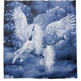 Sparkling White Pegasus Shower Curtain