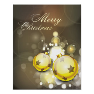 Sparkling Yellow Ornament Merry Christmas Poster