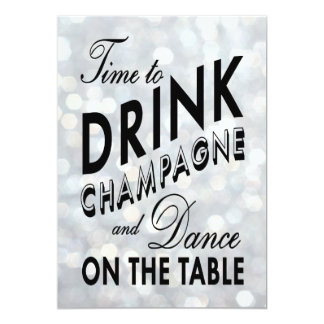 Sparkly 40th Birthday Time to Drink Champagne Card