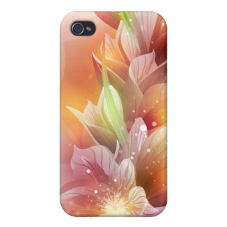 Sparkly Abstract Floral Case For iPhone 4