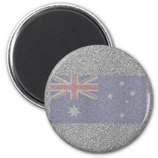 Sparkly Australian Flag 6 Cm Round Magnet