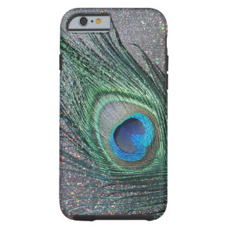 Sparkly Black Peacock Feather Still Life Tough iPhone 6 Case