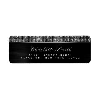 Sparkly Black White  Luxury Silver  RSVP Metallic Return Address Label