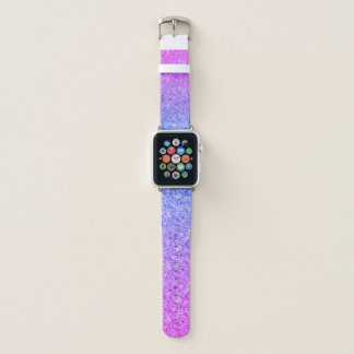Sparkly Blue And Pink Gradient Glitter Apple Watch Band
