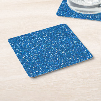 Sparkly Blue Glitter Square Paper Coaster