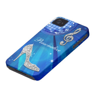 Sparkly Blue/silver Music Note & Stiletto Heel iPhone 4 Case