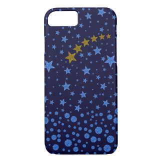 Sparkly blue stars on blue iPhone 7 case