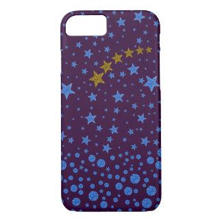 Sparkly blue stars on purple iPhone 7 case