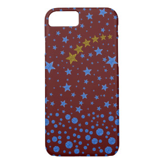 Sparkly blue stars on red iPhone 7 case