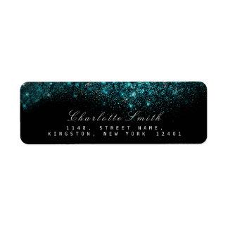 Sparkly Blue Turquoise Ocean Black Glitter  RSVP Return Address Label