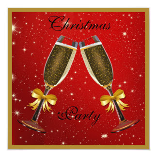 Sparkly Bubbly Champagne Flutes Christmas Party 13 Cm X 13 Cm Square Invitation Card