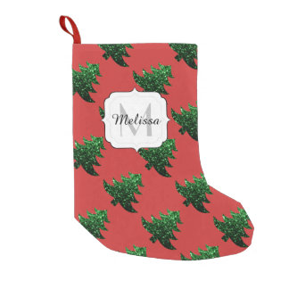Sparkly Christmas tree green sparkles Monogram red Small Christmas Stocking