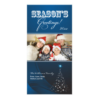 Sparkly Christmas Tree Holiday Photocard blue Personalized Photo Card