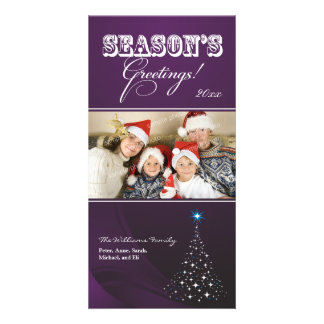 Sparkly Christmas Tree Holiday Photocard (purple) Custom Photo Card