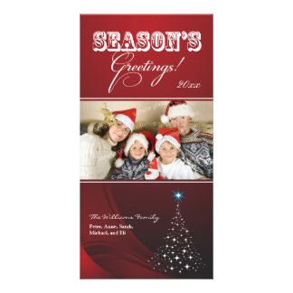 Sparkly Christmas Tree Holiday Photocard (red) Photo Greeting Card