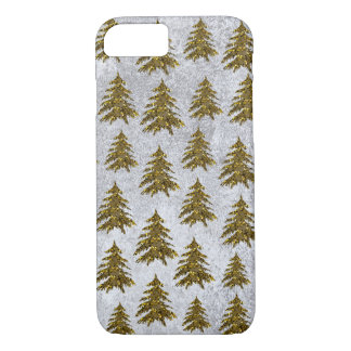 Sparkly Christmas tree on abstract paper iPhone 7 Case