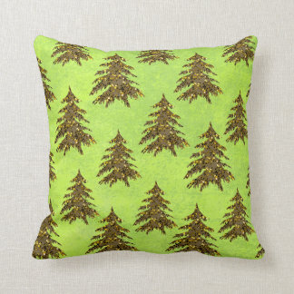 Sparkly Christmas tree on abstract paper Throw Pillow