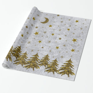 Sparkly Christmas tree, stars on abstract paper
