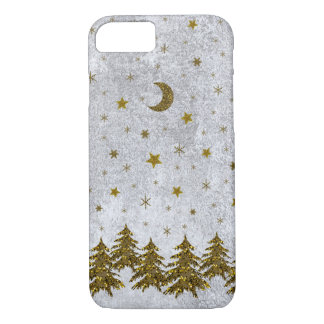 Sparkly Christmas tree, stars on abstract paper iPhone 7 Case