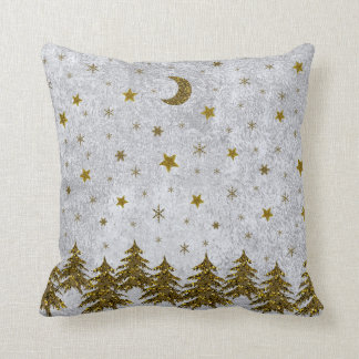 Sparkly Christmas tree, stars on abstract paper Throw Pillow