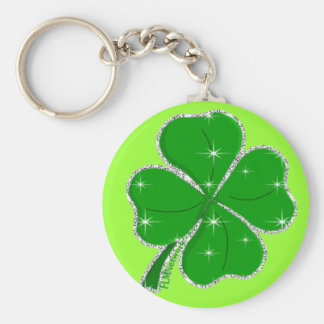 Sparkly Clover Basic Round Button Key Ring