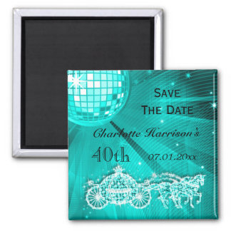 Sparkly Coach & Horses 40th Birthday Save The Date Square Magnet