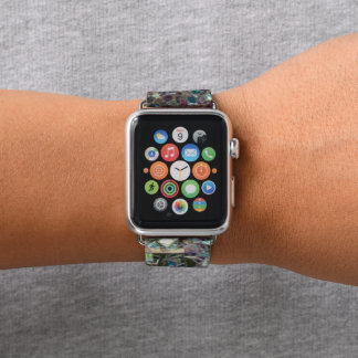 Sparkly colourful silver mosaic apple watch band