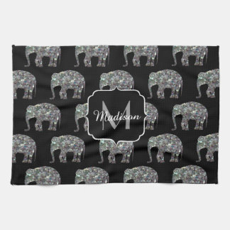 Sparkly colourful silver mosaic Elephant Monogram Tea Towel