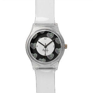 Sparkly colourful silver mosaic Heart Monogram Watch