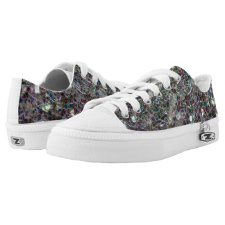 Sparkly colourful silver mosaic low tops
