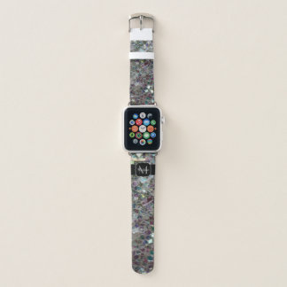 Sparkly colourful silver mosaic Monogram Apple Watch Band