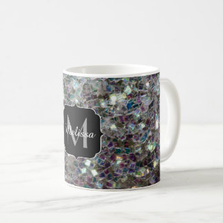 Sparkly colourful silver mosaic Monogram Coffee Mug