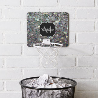 Sparkly colourful silver mosaic Monogram Mini Basketball Hoop